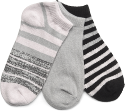 STRIPED ANKLE SOCKS 3 PACK in color Gray