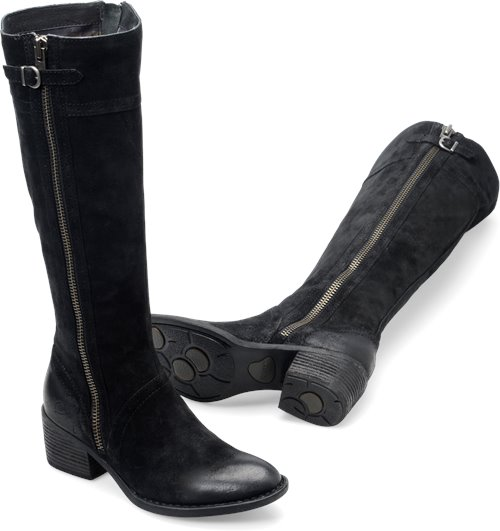 Born Poly In Black Suede Wide Calf Born Womens Boots On