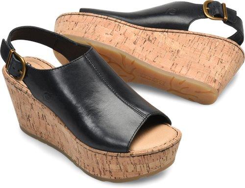 footwear reasonable price wholesale outlet Born Orbit in Black Cork Wrap - Born Womens Sandals on ...