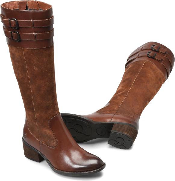 The height of this heel is perfect; you can wear these boots comfortably all day. We love this refined almond toe shape and polished silhouette.   Full-grain leather, suede leather or combo leather upper  Leather and fabric lining  Microfiber-covered latex insole  Leawood-wrapped heel  Steel shank  Opanka handcrafted construction  Shaft height: 16 inches  Shaft circumference: 15 1/4 inches  Heel height: 2 inches