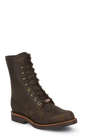 Chocolate Brown Chippewa Boots Chocolate Apache Plain 8 Inch Lacer