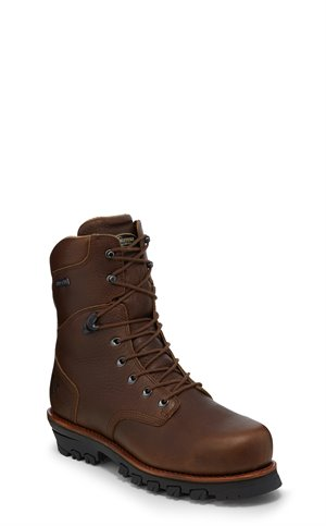 Brown Chippewa Boots 9 Honcho W/P Comp Toe Lace Up