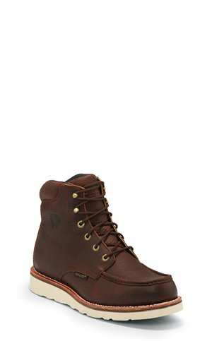 Brown Chippewa Boots 6 Edge Walker W/P Moc Toe Lace Up