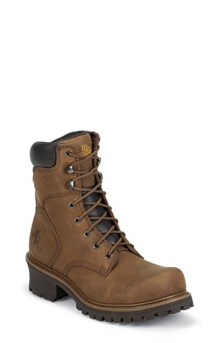 Brown Chippewa Boots Tough Bark ST Oblique 8 inch Logger IQ