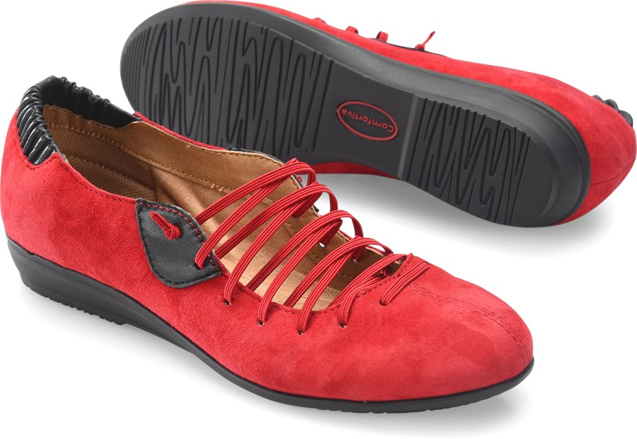 Comfortiva Excel : Fire Red Suede - Womens