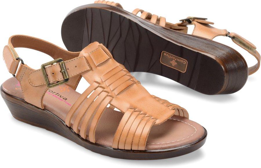 Vintage Sandal History: Retro 1920s to 1970s Sandals Comfortiva Womens Shoes - Freeport in Natural $69.95 AT vintagedancer.com