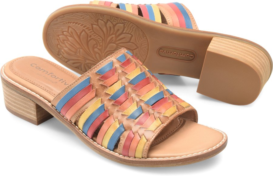 Retro Vintage Style Wide Shoes Comfortiva Womens Shoes - Brileigh in Sand Multi $84.95 AT vintagedancer.com