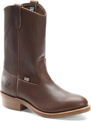 Dark  Oil Tan Double H Boot 10 Inch Steel Toe Ranch Wellington