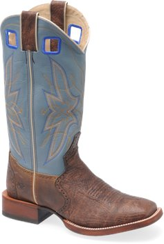 "Tan/Sky Blue Double H Boot 14"" Wide Square Buckaroo"