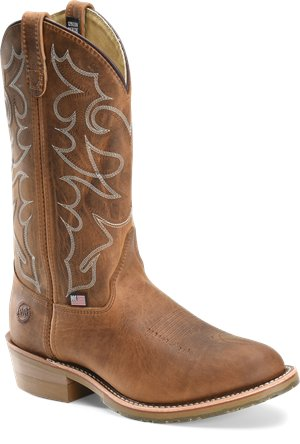 Brown Double H Boot 12 Inch Gel ICE Steel Toe Work Western