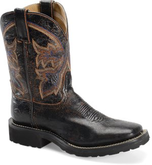 Black Double H Boot 9 Inch Super Lite Wide Square Toe Roper