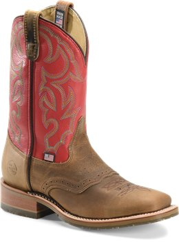 Light Brown/Red Double H Boot Wide Square Work Roper Old Town