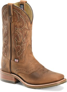Light Brown Double H Boot 11 Inch Domestic Square Toe Roper