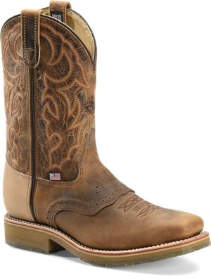 Light Brown Double H Boot 11 Inch Domestic Square Toe ST Roper