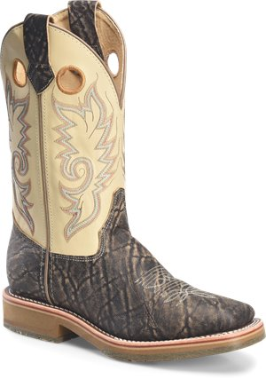 Birch Elephant Print Leather  Double H Boot 12 inch Domestic Wide Square Roper