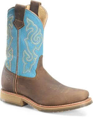 Light Brown Tan Double H Boot 12 In Domestic Wide Square Steel Toe ICE Roper
