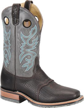 "Chocolate/Cool Grey Double H Boot 11"" Steel Toe Roper"