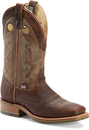 "Tan Double H Boot 11"" Domestic Wide Square Toe ICE"