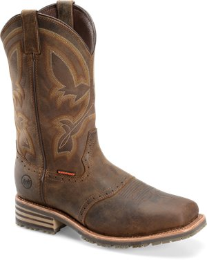 Tan Crazyhorse Double H Boot Mens 11 inch Wide Square Toe ICE Roper