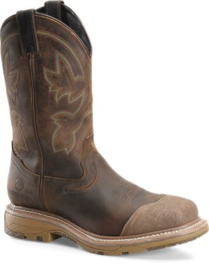 CreamBuster Leather  Brown Double H Boot 12 In WorkFlex Wide Square Toe