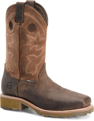 Bronco Leather Double H Boot Mens 12 Inch Waterproof Wide Square Toe Roper