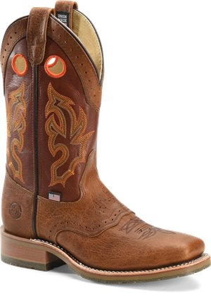 Peanut Bison Double H Boot 13 Inch Domestic Wide Square Toe Roper