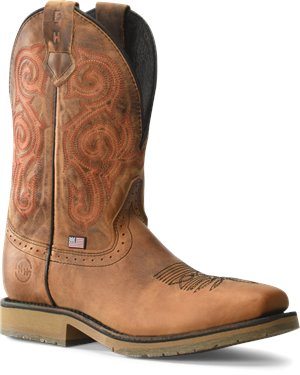 Light Brown Double H Boot 11 Inch Domestic Wide Square Steel Toe Roper