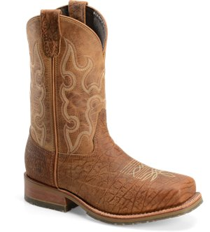 "Sunset Tan Double H Boot 11"" Domestic Wide Square Toe"