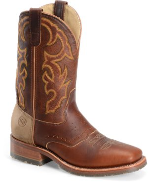 "Rust Double H Boot 11"" White Square Toe Roper"