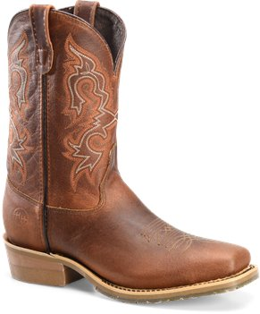 "Light Brown Double H Boot  11"" Domestic Wide Square Toe Work Western"