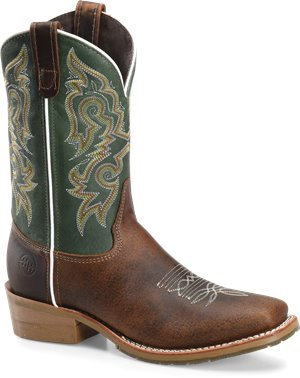 Turquoise Brown Double H Boot 11 Domestic Wide Square Toe Work Western