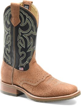 Tan Bison/Frida Blue Double H Boot 11 Inch Domestic Wide Square Toe Roper