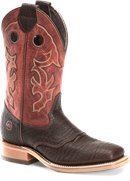 Double H Boot Andre 11 Inch Mens Wide Square Toe Roper in Brown Hilack/Red