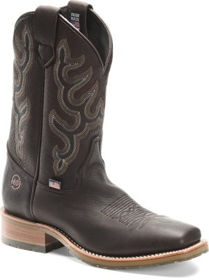 Chocolate Elk Double H Boot Mens 11 Inch Wide Square Toe Roper