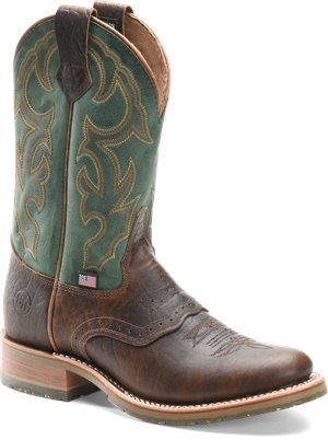 Mastodon Bison/Green Double H Boot Mens 11 Inch Domestic U Toe Roper