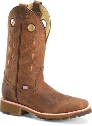 Light Brown Double H Boot Mens 12 inch Domestic Wide Square ST Ice Roper