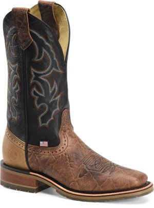 Light Brown Double H Boot Mens 12 inch Domestic Wide Square Toe Ice Roper