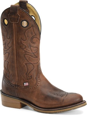 Light Brown Double H Boot Mens 12 inch Domestic R Toe Work Western