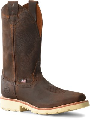 Light Brown Double H Boot Mens 12 inch Domestic Wide Square Toe Roper
