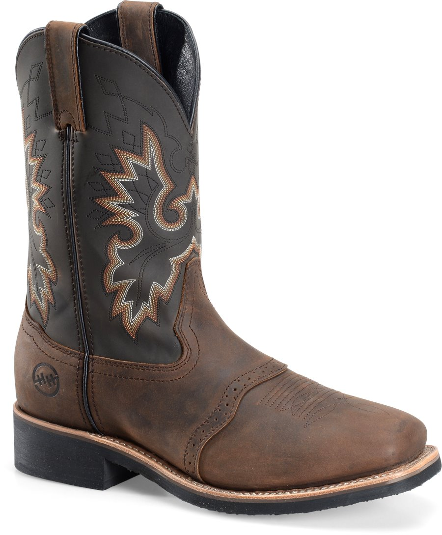 Double H Boot 11 Inch Wide Square Safety Toe Roper : Tan Crazy Horse - Mens