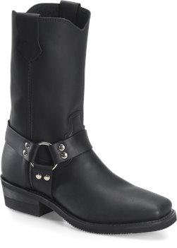 Black Double H Boot Leroy - 11 inch Mens Black Wide Square Harness