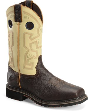 "Dark Brown Beige Double H Boot 13"" Wide Square Composite Toe"