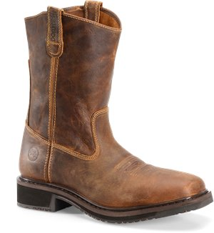 Buff Tan Double H Boot 11 Inch Wide Square Comp Toe Roper