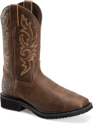 Brown Double H Boot 12 Inch Wide Square Comp Toe