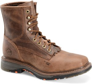 Chestnut Double H Boot 8In  Workflex Wide Square Composite Toe Lacer