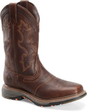 "Tumbled Briar Double H Boot 12"" Workflex Wide Square Toe Roper"