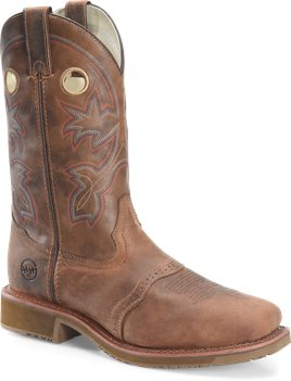 Light Brown Double H Boot 11 Inch Wide Square Toe Roper