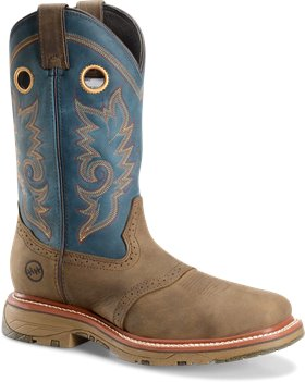 Dark Tan Royal Blue Double H Boot 12 In Wide Square Toe Roper