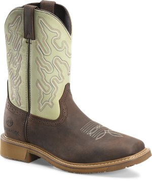 Peanut  Mint Double H Boot 11  WorkFlex Wide Square Toe Roper