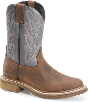 Peanut Navy Double H Boot 12  Workflex U Toe Roper
